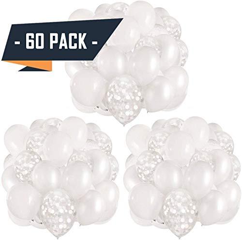 APERIL 60 Stück Latex Luftballons, Gold Konfetti Luftballons/Bänder | Metallisch Golden Luftballons | Weiße und Gold Konfetti Luftballons für Geburtstag, Hochzeit, Babyparty, Dekoration (BGJ)