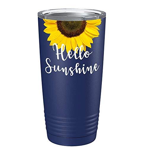 Hello Sunshine Sunflower Best Friend Gift for Women on Navy Blue 20 oz...