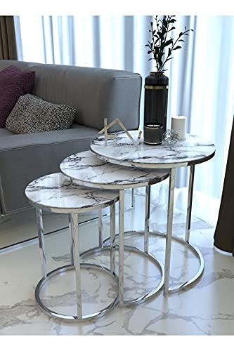 ZOYAFA Mesa de centro de cristal de mármol blanco plateado 3 piezas moderno para sala de estar