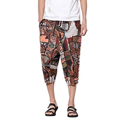 Zhuhaitf Été Hawaii Boho Thai Hippie Yoga Boho Harem Pantalon-Hommes/Femmes Casual Pantalon- Sarouel- Pantalon Aladin- Respirant Coton Lin