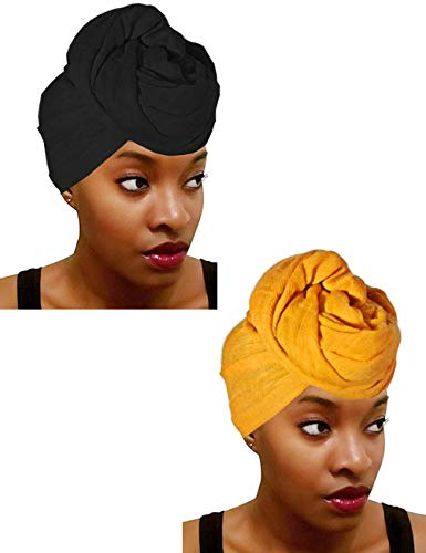 Jersey Knit Head Wraps for Women Linen Long Hair Scarves for Dreadlock Braids Soft Headscarf Yellow & Black