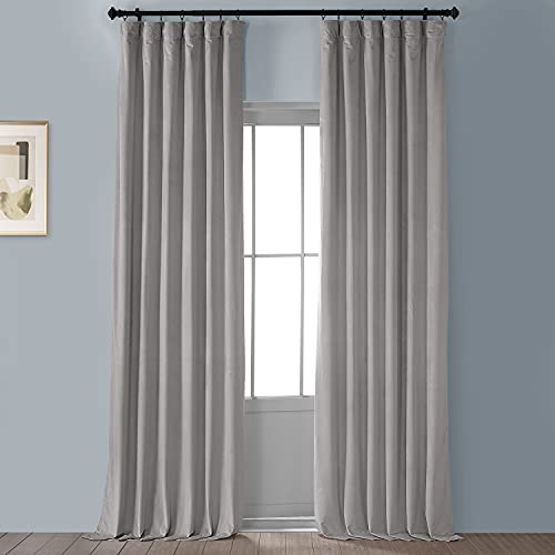 HPD Half Price Drapes VPYC Heritage Plush Velvet Curtain (1 Panel), 50 X 96, City Grey