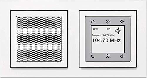 Berker Unterputz Radio (Einbauradio) Komplett-Set - 28848989 inkl. Lautsprecher und Rahmen in polarweiß glänzend - UKW-Radio mit RDS-Anzeige