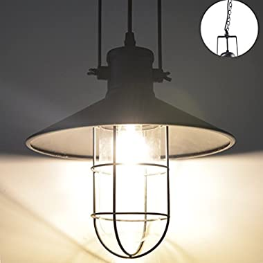 ZHMA Pendant Lamp1-Light, Retro Industrial Warehouse Ceilingt Lighting,The Chains Hanging Design Modern Iron Flush Mount Lights, Adjustable Hanging Height E26/E27 Edison Bulbs Fixture