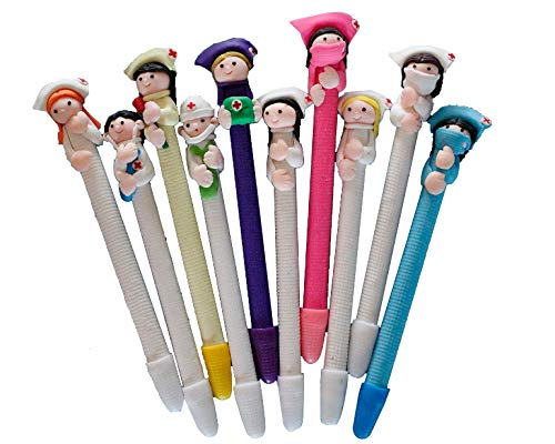 BestGrew 10pcs Doctor and Nurse Polymer Caly Ball Point Pens Cute Novelty Lovely Cartoon for Writing...