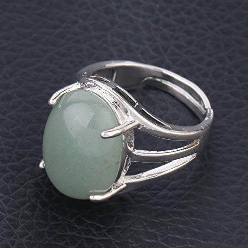 Adjustable Ring For Women,Silver Inlaid Oval Natural Green Aventurine Stone Charm Adjustable Open Knuckle Tail Ring Finger Joint Toe Ring Jewelry For Women Girls Gift Wedding Engagement Mother'S Day