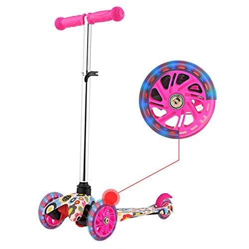 WeSkate Kinderscooter Kinderroller 3 Räder Kickboard Tretroller mit PU Blinkenden Rädern, Höhenverstellbar für Mädchen Jungen Kinder ab 3 Jahren