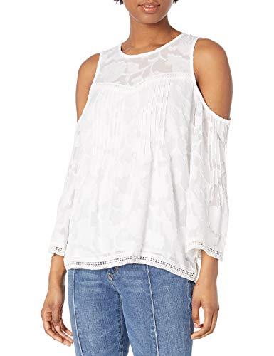 Lucky Brand Donna 7W44307 Maniche Lunghe Camicia - Bianco - XS