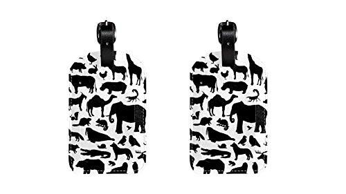 Etiquetas de Piel sintética para Equipaje con diseño de Animales Suilhouette Big Set Imprimir Nombre ID Etiquetas para Bolsa de Viaje Equipaje Maleta con Cubierta de privacidad Trasera 2 Unidades