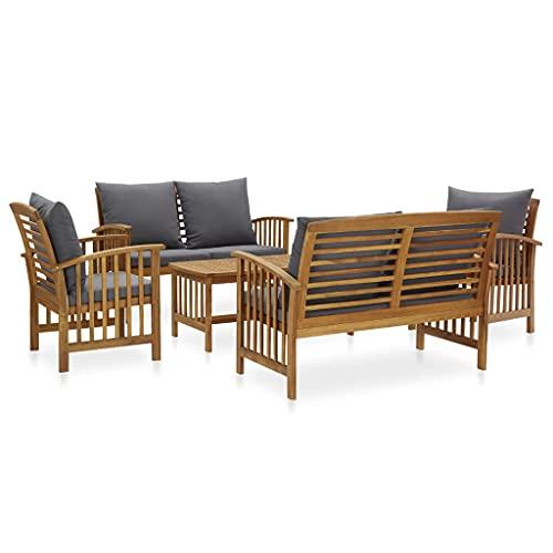 vidaXL Bois d'Acacia Solide Salon de Jardin 5 pcs avec Coussins Mobilier d'Extérieur Meubles de Jardin Mobilier de Patio Meubles de Terrasse