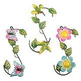 YiYa 3PCS Metall Blume Schmetterling und Windvogel Wand Dekoration für Gartenzaun im Innen oder Außenbereich Balkon Terrasse Wohnzimmer Schlafzimmer Dekor (Mehrfarbig)