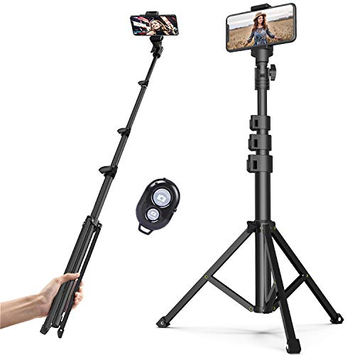 Professional 2 in 1 Selfie Stick Tripod, Extends to 51.6 inch Stable Travel...