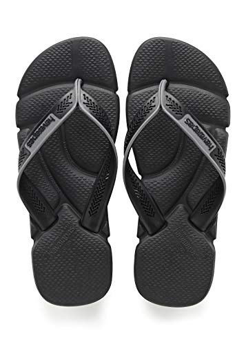 Havaianas Men's  Power Flip Flop Sandal Black/Steel Grey 9/10 M US
