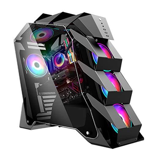 WSNBB Gaming Pc Gehäuse, Mid-Tower ATX/M-ATX PC-Gaming-Computer-Gehäuse, Gehärtetes Glas Side Panel, USB 3.0, Kühlwasser Fall for Desktop-PC Computer (Color : Black)