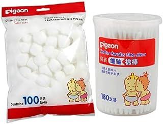 贝亲棉签+棉球 婴儿卫生护理套装 宝宝清洁棉花棒KA01*2筒+棉球KA08*2袋