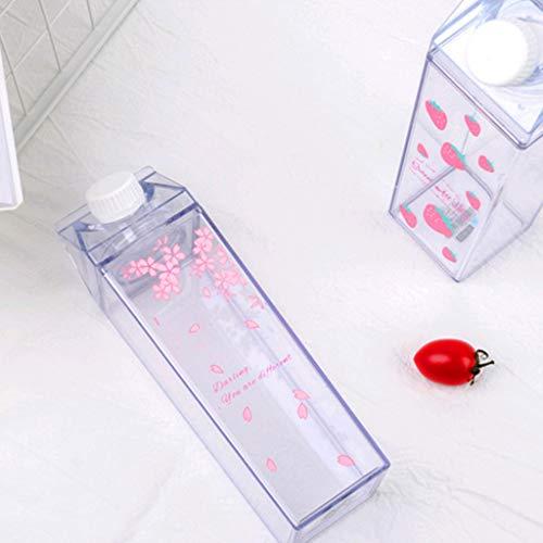 AERVEAL Botella de Agua Almacenamiento de Leche Estampado de Sakura Estampado de Fresa Taza Transparente para Beber Deportiva para la Oficina de la Escuela en casa