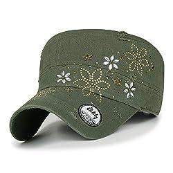 Crystal Gemstone Stud Flower Moss Green Cotton Cadet Cap