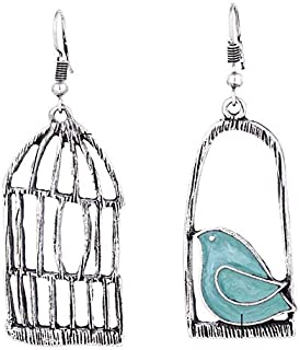 Vintage birdcage with bird earrings for women