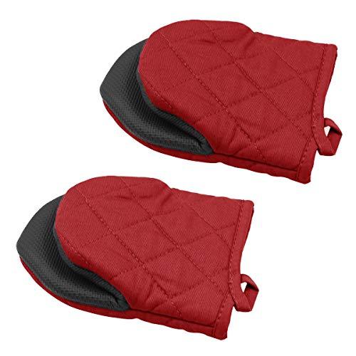 2 Mini-Ofenhandschuhe, rutschfeste Silikon- und Baumwollschutzmatte zum Kochen in der Küche, Grillen (rot)