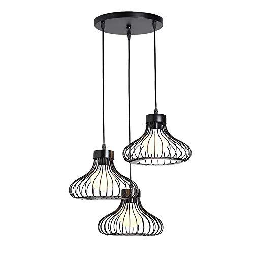 Suspension Luminaire Cage Industrielle E27 Lustre Abat-Jour 3 lampes 23cm Rétro Métal Plafonnier Cuisine Eclairage Décoration pour Loft