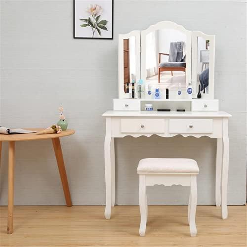 Tavolo da toeletta, multifunzionale, elegante stile nordico con cassetti, in legno per camera da letto, scrivania per casa, ufficio, studio