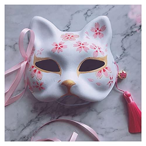 siqiwl Party Maske Handgemalte Katze Die neunschwanzige Fuchsmaske Natsume's Buch der Freunde Pulp Halbgesicht Halloween Cosplay Tierparty für Frau Neu (Color : Without Flowers)