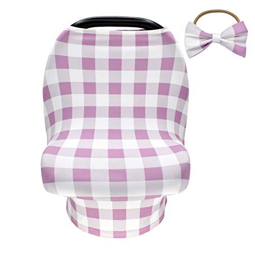 Yuehuam Stilldecke mit Baby-Stirnband Autositz-Überdachung Kinderwagen-Überdachung Kindersitz-Überdachungen für Einkaufswagen/Hochstuhl/Dehnbar (Lila)