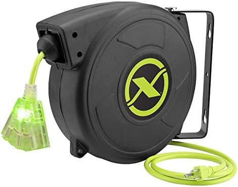 Flexzilla Retractable Extension 14 3 AWG SJTOW 50 Grounded Triple Tap Outlet Electric Cord Reel product image