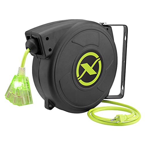 Flexzilla Retractable Extension, 14/3 AWG SJTOW, 50', Grounded Triple Tap Outlet electric cord reel, ZillaGreen, FZ8140503
