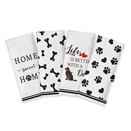 Artoid Mode Pet Dog Paw Life is Better with A Dog Home Sweet Home Kitchen Dish Towels, 18 x 28 Inch Farmhouse Rustic Ultra Absorbent Drying Cloth Tea Towels for Cooking Baking Set of 4