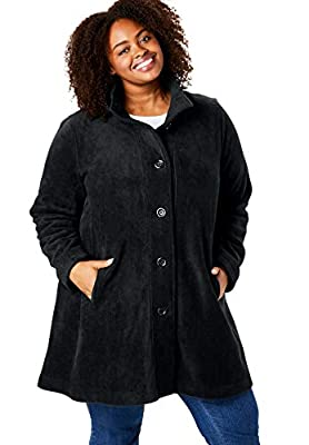 Woman Within Women's Plus Size Fleece Swing Funnel-Neck Jacket, Black, Large by Woman Within