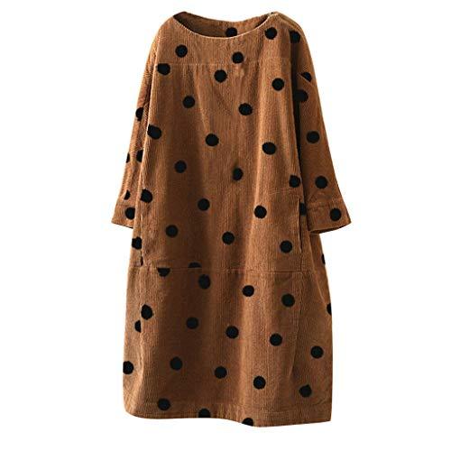 YUWEX Kleid Damen Oansatz Langarm Dot Printed Casual Dress