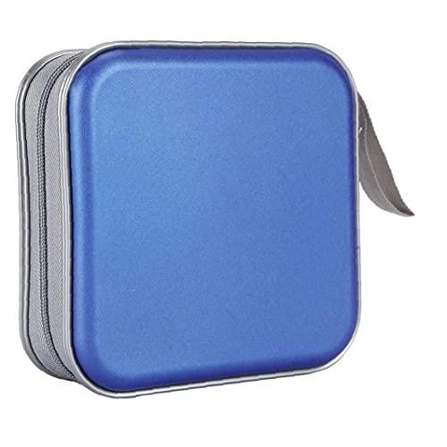 Borsa a matita, cd sacchetto di archiviazione, cd e dvd stoccaggio custodia stoccaggio raccoglitore custodia portafoglio portafoglio portatile per auto per ufficio viaggio 40 dischi blu
