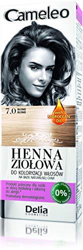 Cameleo Crème colorante Herbal Henna à l'extrait de henné naturel et à l'huile marocaine, couleur blond, 75 g