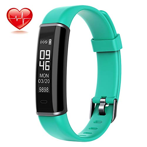 Lintelek Activity Tracker, Slim and Light Fitness Tracker with Heart Rate Monitor, Pedometer Watch with Sleep Monitor, SNS Alert, IP67 Waterproof for Kids, Women and Men, Green