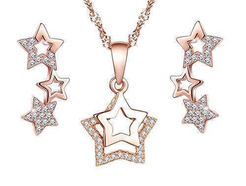 Collar de plata 925, colgante para niña mujer, anillo de oreja de estrella de diamante, decorado con circonita cúbica, juegos de joyas, oro rosa, regalo de cumpleaños de Navidad