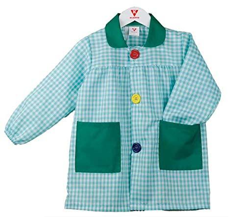 KLOTTZ 901B - Babi cuadros guardería Bata escolar con botones y amplio colorido. Protección ropa en comedores y manulidades en casa. Niñas color: VERDE AGUA talla: 4