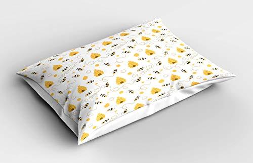 ABAKUHAUS Bij Siersloop voor kussen, Vliegende Bugs Hearts Bijenkorven, standaard maat bedrukte kussensloop, 75 x 50 cm, mosterd White