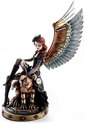 Mystic Worlds Keymaster Steampunk Fairy with Gargoyle - Collectible Fantasy Figurine Figure Decoration