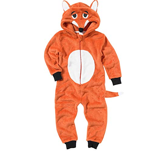 Onesies Animal Crazy Boys Fox Supersoft Fleece Jumpsuit Playsuit UK Seller - Orange - 6/7 Years