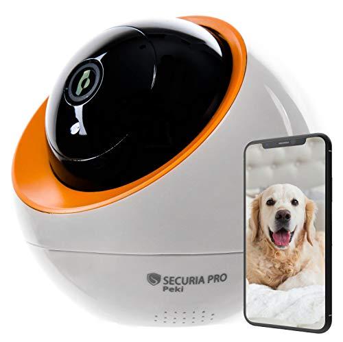 SECURIA PRO Peki - 1080p HD Nachtsicht Kamera kompatibel mit Alexa und Google Home, WLAN Überwachungskamera mit 2-Wege-Audio, Innen SD/Cloud-Kamera für Baby/Haustier, Weiß