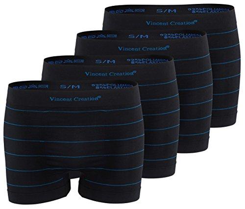 Vincent Creation 4er Pack Seamless Retro-Boxershorts-Pant, Microfaser, schwarz mit dezenten Streifen