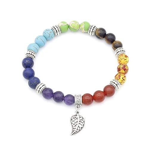 KoelrMsd Yoga Leaf Bracelet Seven Chakra Energy Stone Bracelet