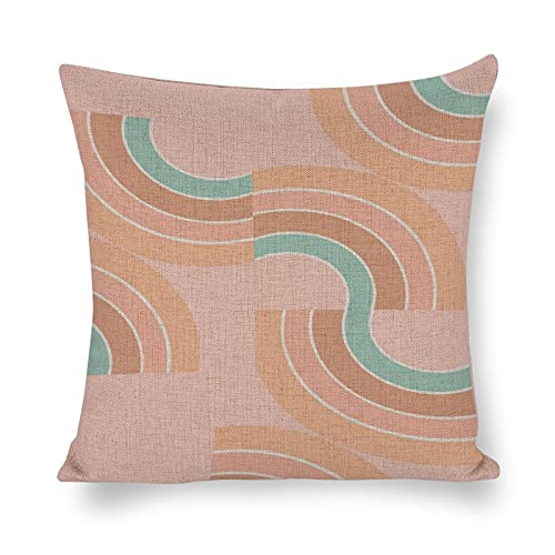 Funda de almohada moderna de arte abstracto, simple patrón de arco iris, algodón y cáñamo, decoración rústica, cuadrada, decoración del hogar para sofá, regalos divertidos para niños, niñas y hombres