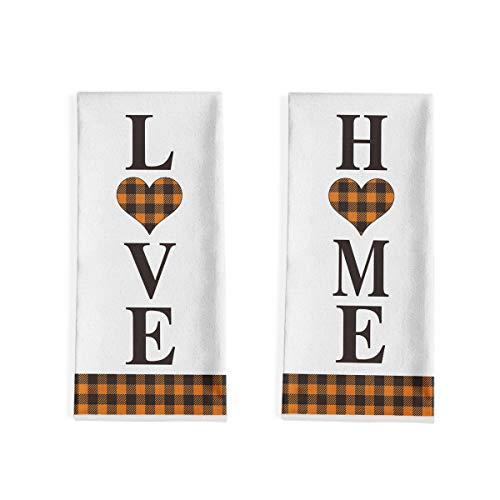 Artoid Mode Buffalo Plaid Home Love Kitchen Dish Towels, 18 x 28 Inch Fall Autumn Harvest Thanksgiving Ultra Absorbent Drying Cloth Tea Towels for Cooking Baking Set of 2
