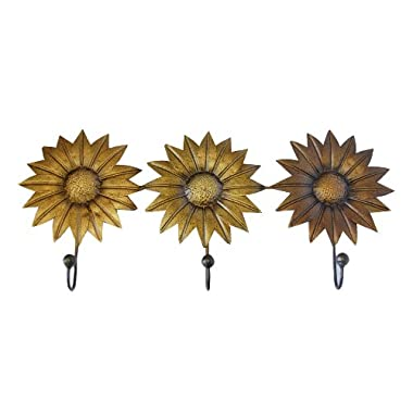 Haven Three Hook Metal Sunflower Decorative Wall Hook