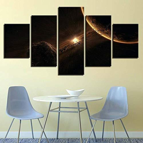 45Tdfc Impresiones sobre Lienzo Impresión HD De 5 Piezas sobre Lienzo Arte De La Pared Decoraciones del Hogar - Espacio Exterior Planeta Meteoritos (Sin Marco)
