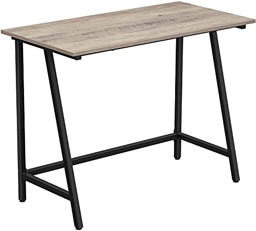 Escritorio de ordenador con marco de acero, tablero rústico, mesa de trabajo para oficina y estudio en casa, fácil montaje, 100 x 50 x 75 cm, industrial, color negro