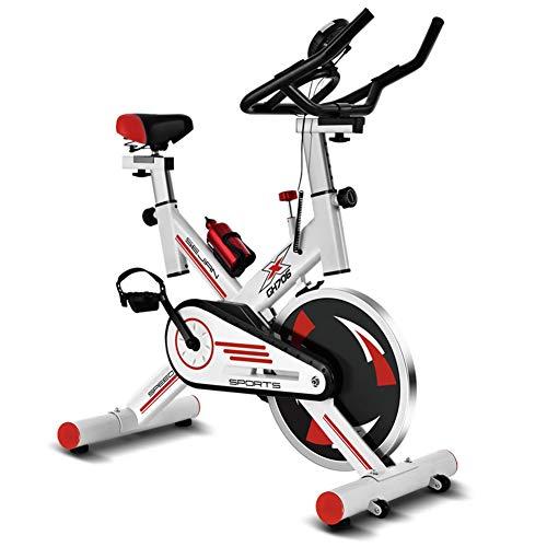ALGWXQ Bicicleta Ejercicio Interior, con Pantallas LCD, Asiento Y Manillar Ajustables Bicicleta de Spinning for Entrenamiento Cardiovascular En Casa (Color : White)