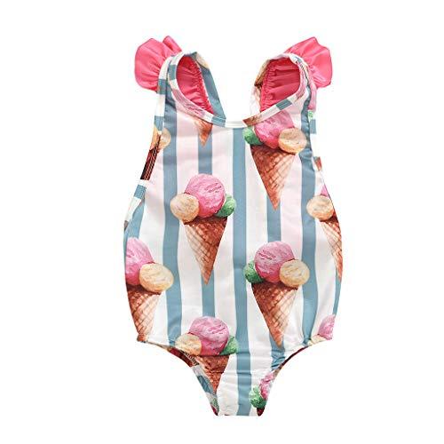 YWLINK Traje De BañO Bebé NiñO NiñA Bikini con Estampado De Rayas De Helado De Dibujos Animados Ropa De Playa Mono con Volantes Y Lazo Sin Mangas Nadar/BañArse/Aguas Termales(Rosado,6-12 Meses)